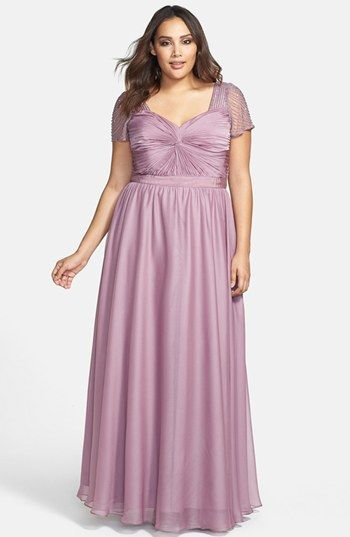 Adrianna Papell Beaded Flutter Sleeve Gown (Plus Size ...