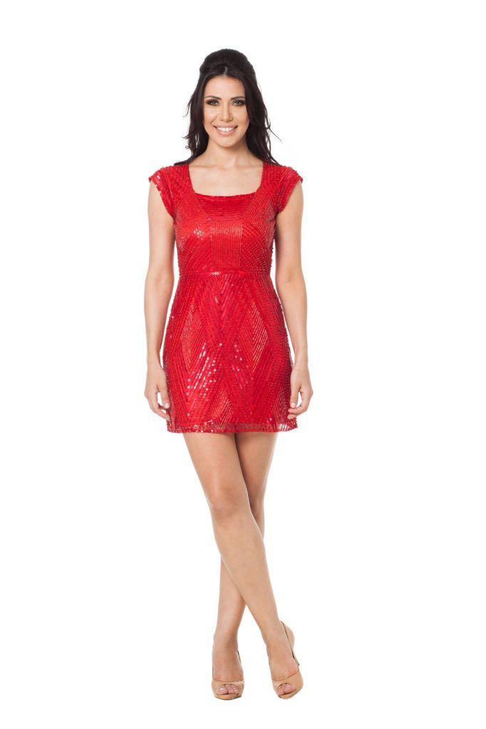 140559378 Red Prado - Vestido curto com mangas, decote nas costas e bordado em toda  sua extensão. #glam #fashion #cool #ootd #cute #style #trends #aboutalook