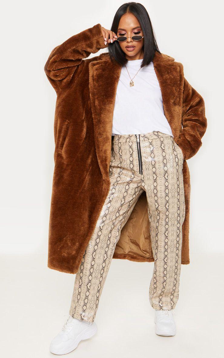 Brown Faux Fur Coat Coats Jackets Prettylittlething Usa Brown Faux Fur Coat Brown Fur Coat Faux Fur Coat