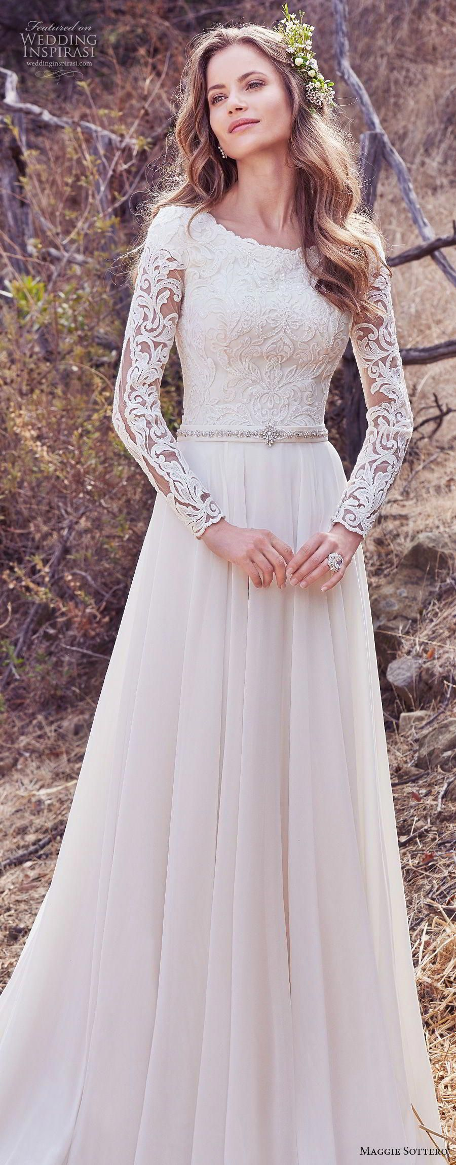 Best wedding dresses for body type  maggie sottero fall  bridal long sleeves bateau neckline heavily