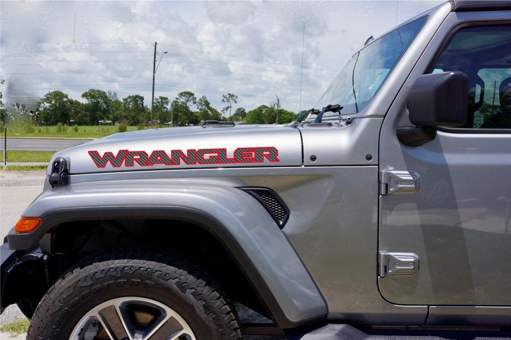 Jeep Wrangler Hood Decals Jl Style Carbon Fiber With Color Border Jeep Wrangler Jeep Wrangler Jl