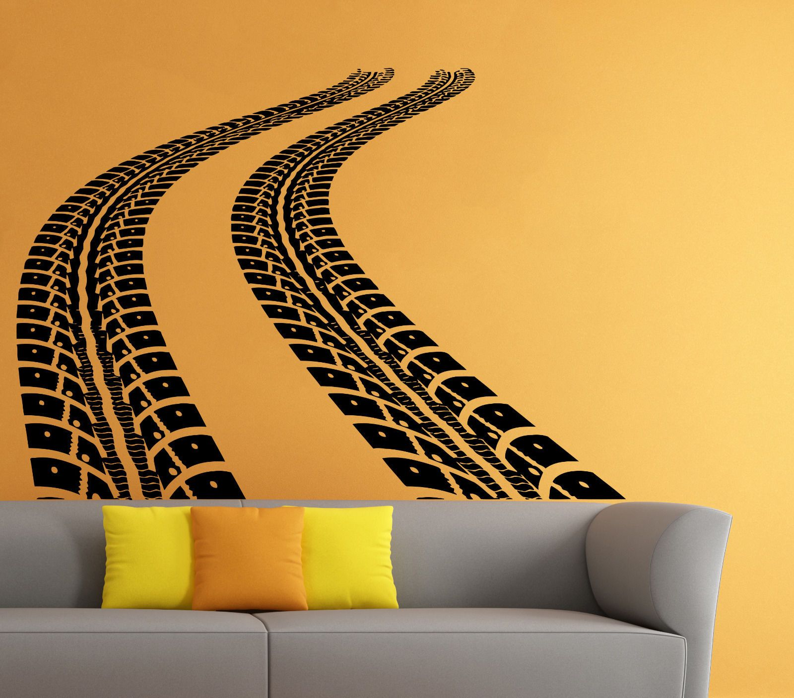 Tire Tracks Wall Decal Car Traces Vinyl Sticker Art Home Mural Decor ...