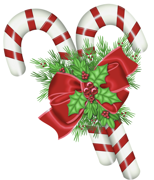 Transparent Christmas Candy Canes with Mistletoe PNG