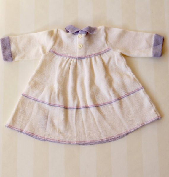 210cba47a Vintage Baby Girl Dress in White Knit 3-6 months by ElleBelleVin ...