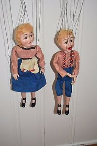 Just wrote the seller:  Thought you might like to know...  Although in your listing as 1940-50, the Tenite plastic from which these are made was not used for heads at Hazelle's before 1950. This #313 - Hansel and #314 - Gretel appeared  in Hazelle's brochures from 1958 to 1973. Hope this helps.