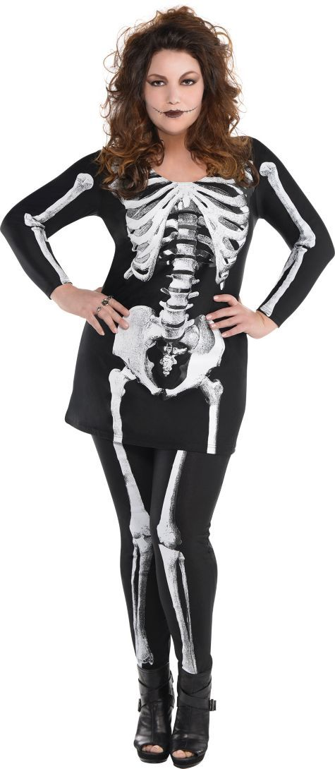 Adult Bare Bone Skeleton Costume Plus Size - Party City ...