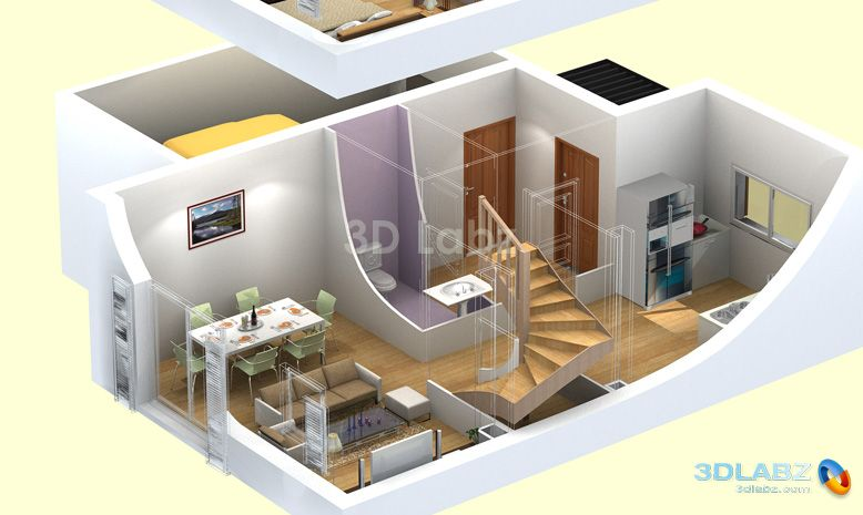 3D Floor planHouse PlansPinterest3d Floors and Floor plans