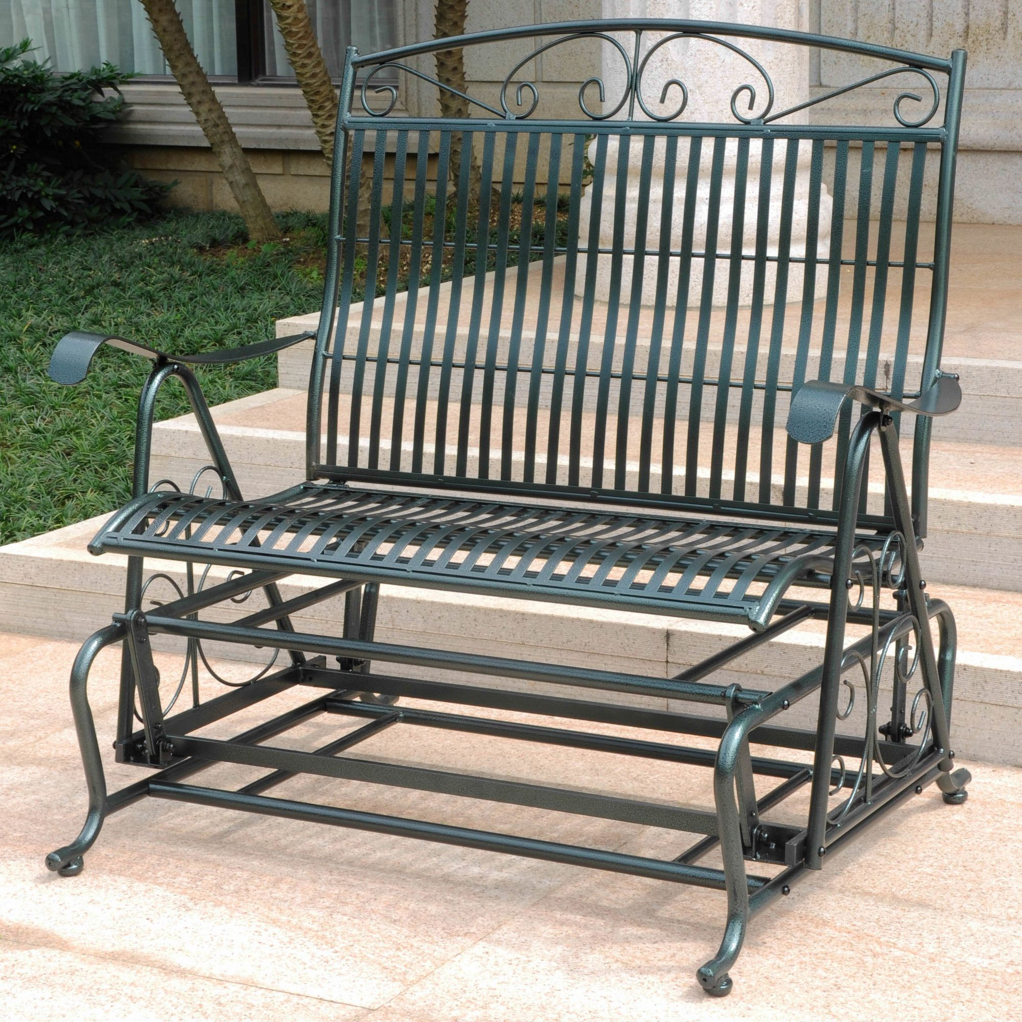 Snowberry Iron Double Patio Glider Bench Products