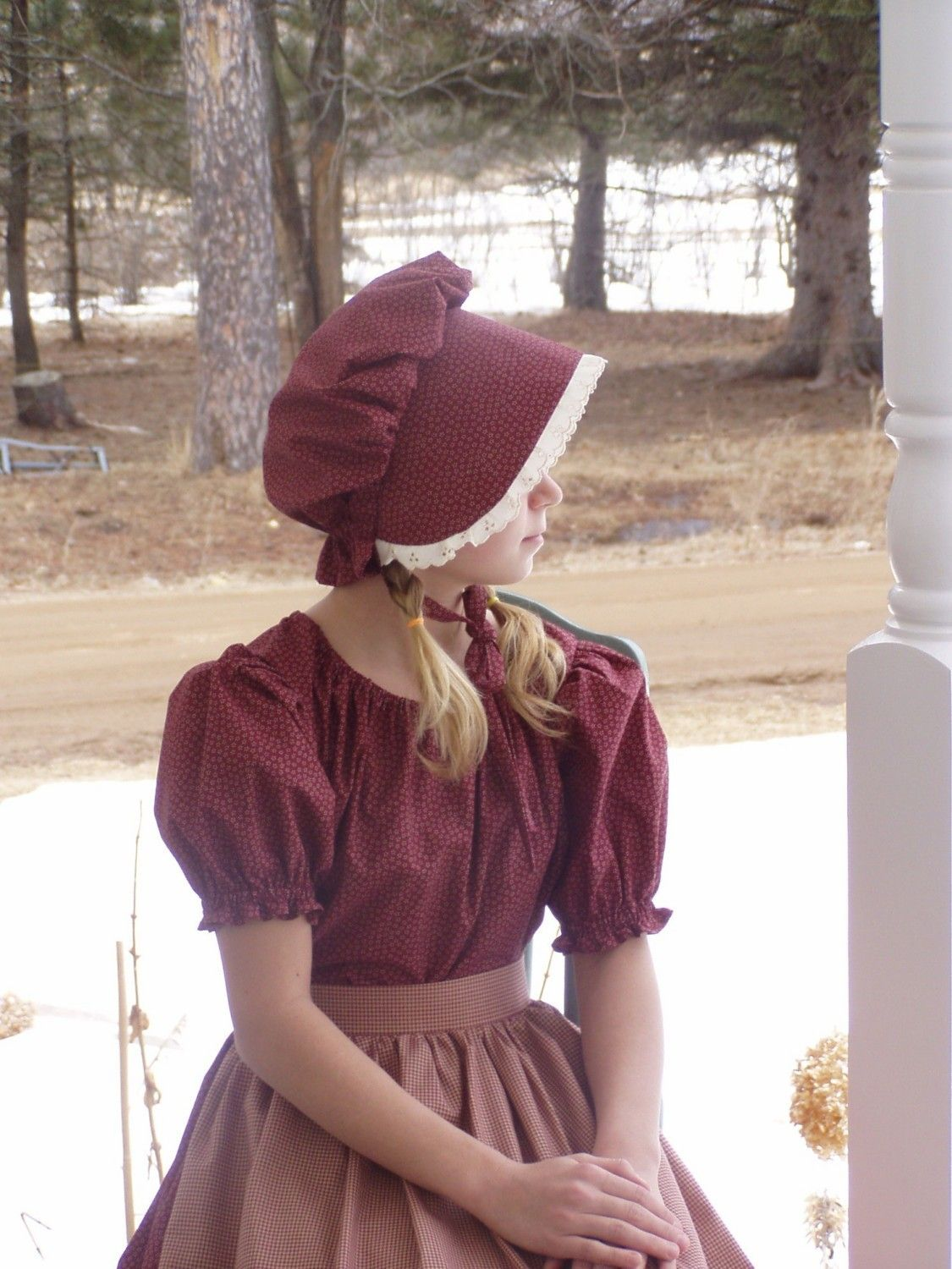Girls Pioneer Prairie Colonial Dress Costume Burgundy
