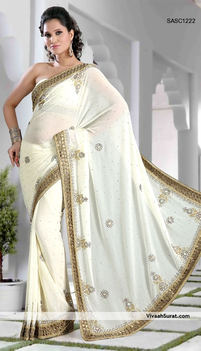 Off White Embroidery And Crystal Work Saree 22912