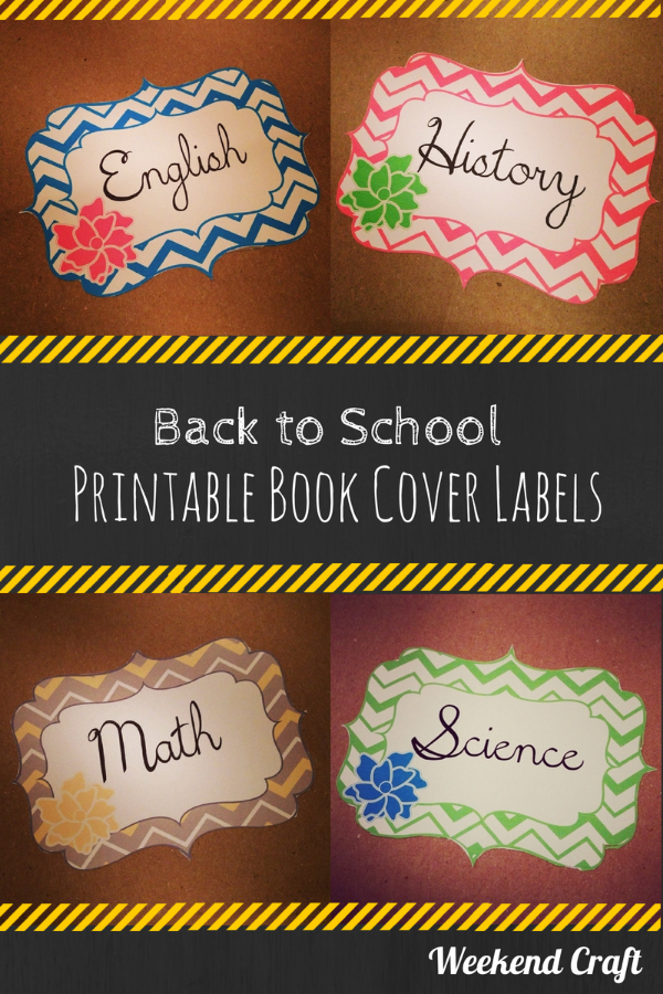 Book Cover Craft Cover : Back to school printable subject labels and