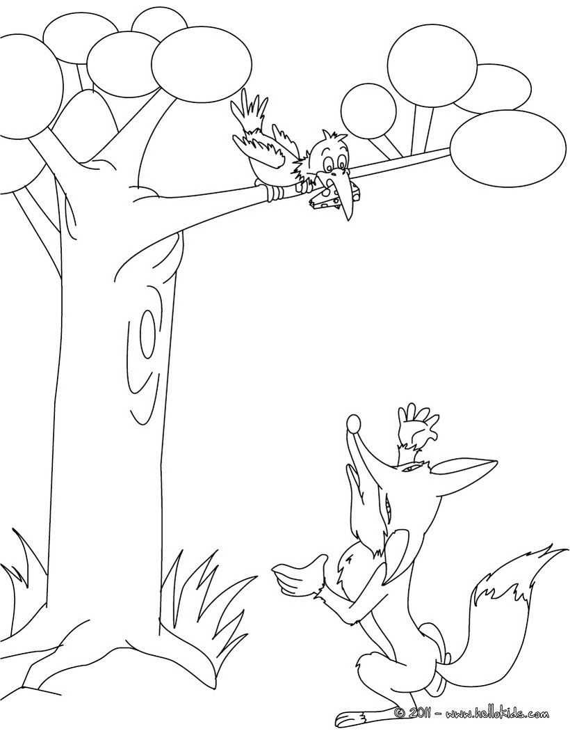 Fables Of La Fontaine Coloring Pages The Raven And The Fox Fox Coloring Page Coloring Pages Coloring Pages For Boys