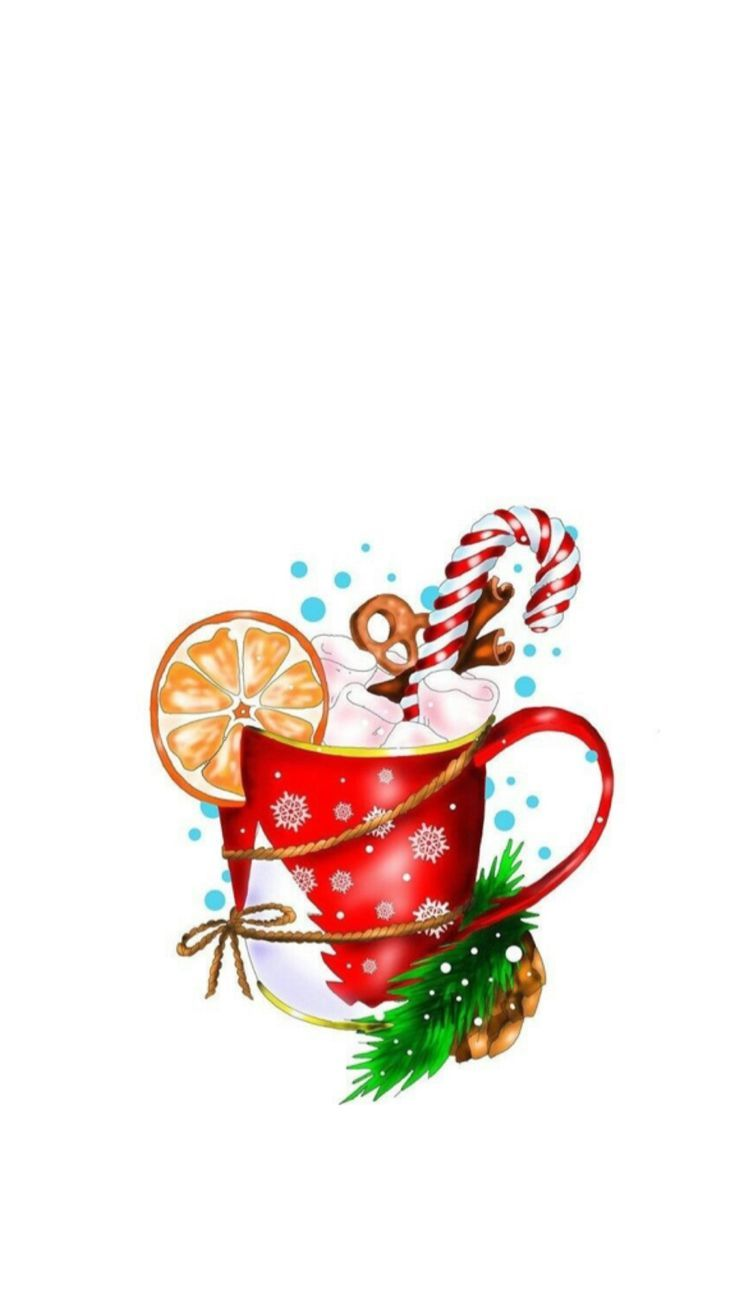 Christmas cup and drink illustration art #painting, #Art #christmas #Cup #drink #illustration #painting,