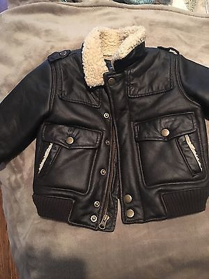 4149096c3 Toddler Boy Baby Gap Leather Bomber Jacket Size 18-24 months. NEW ...