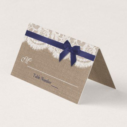 Navy Ribbon On Burlap Lace Wedding Place Card Rustic Gifts Ideas Customize Personalize