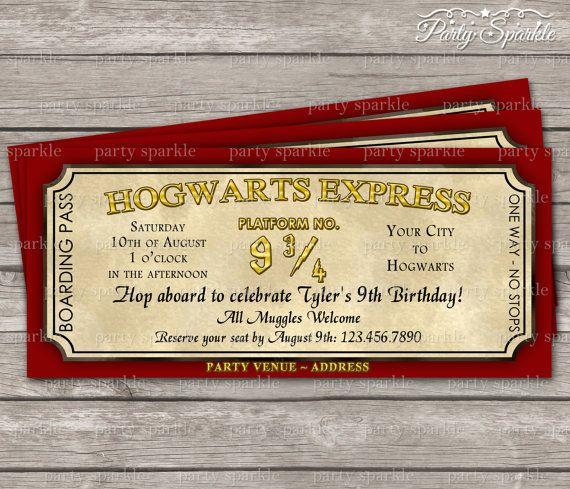 Hogwarts Express Ticket Invitation Harry Potter Birthday Party – Harry Potter Party Invitation