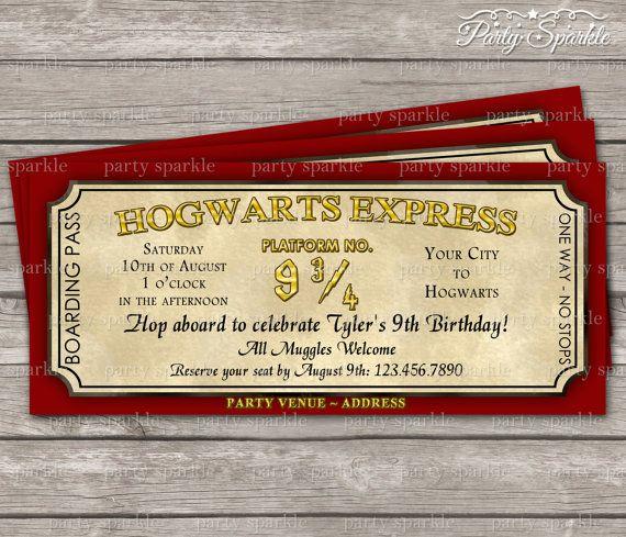 image relating to Hogwarts Express Printable identify Hogwarts Categorical Ticket Invitation - Harry Potter Birthday