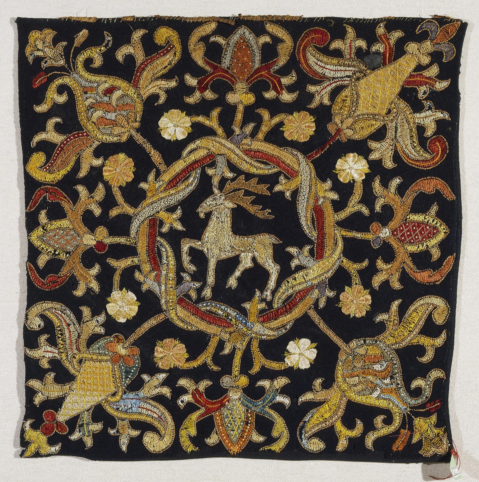 Title embroidery depicting a deer place of creation germany or