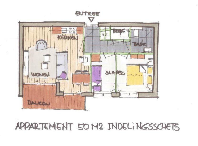 appartement 50m2 schets Schets, Appartement