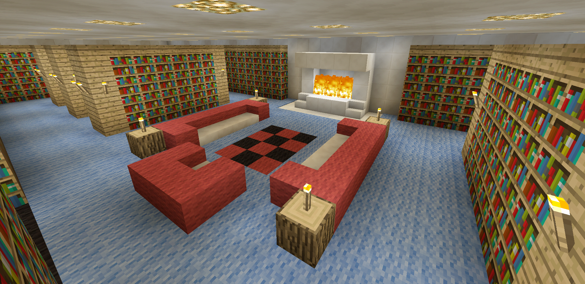 Minecraft Library Room House Fireplace Creations Home
