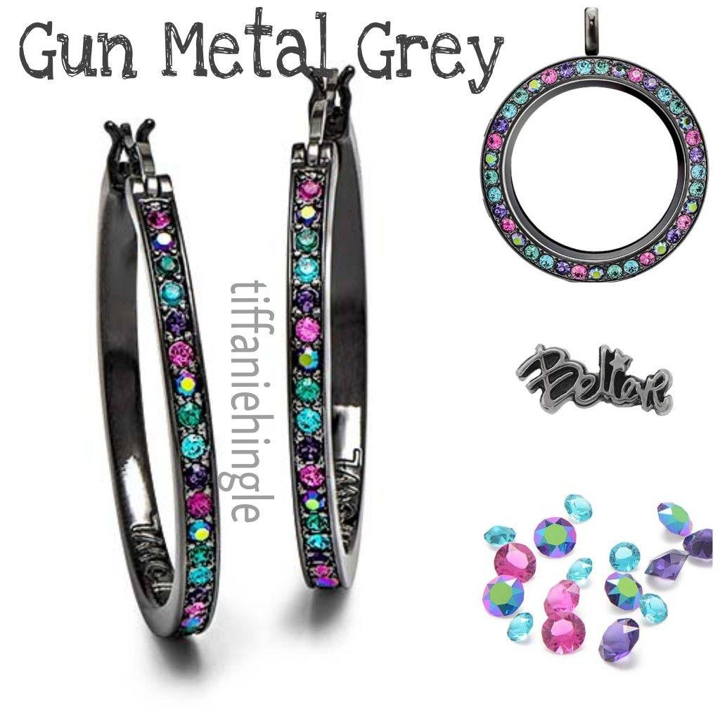 New Call Gunmetal Grey Origami Owl Earrings And Locket