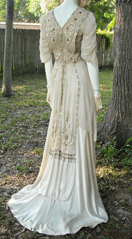 Antique Edwardian Evening Gown 1912 Titanic Era Silk Embroidered ...