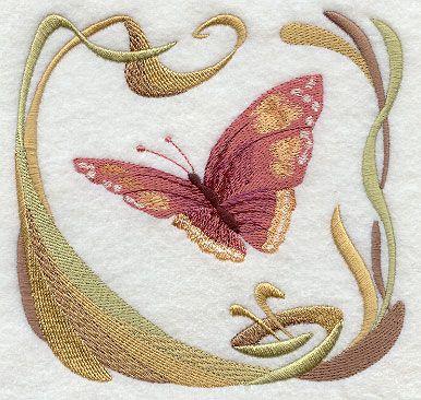 Nouveau Designs | Art Nouveau Butterfly Floral Machine Embroidery Designs