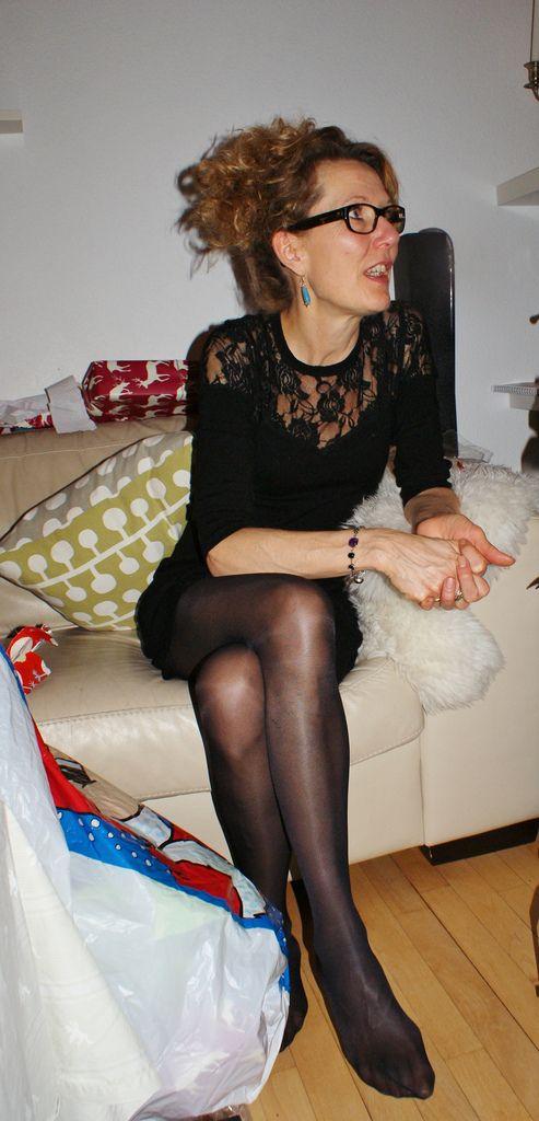 danish milf tina in superb black tights and stocking feet