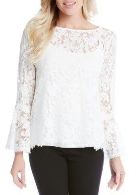f388577ceeb Karen Kane Women s Lace Bell Sleeve Top - - No Size