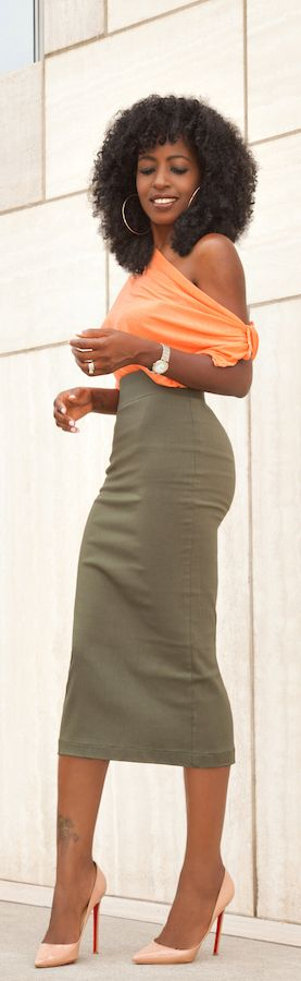 Off The Shoulder Blouse + Military Pencil Skirt / Fashion By Style Pantry