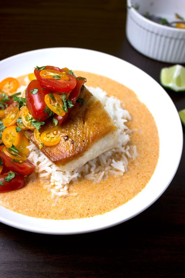 Seared cobia tomatos kumquats thai coconut curry sauce for Cobia fish recipe