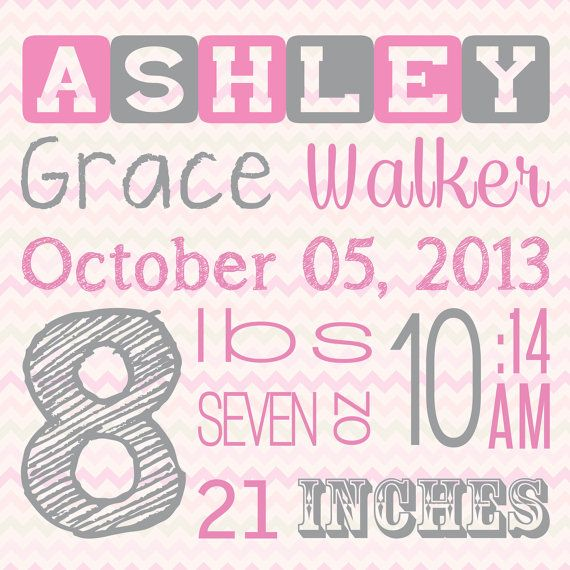 20x20 Personalized Baby Girl Birth Information by ShayItWithLove, $80.00