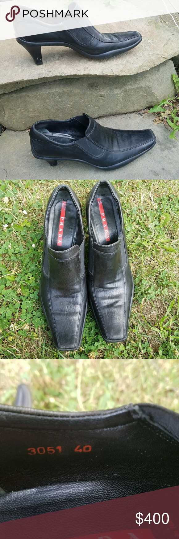 """Prada Square Toe Nappa Sport Booties 2.5"""" heel Authentic leather made in Italy. Prada Linea Rossa. GUC with some creasing and minor scuffs as shown in photo. Box not included. EU size 40. Best for a U.S. size 9 or 9.5.  Offers considered No trades Prada Shoes Ankle Boots & Booties"""