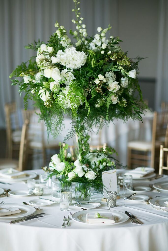 Reception Centerpiece White Flowers Greenery Spring
