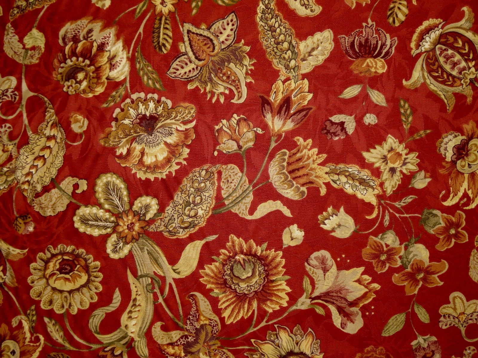 1 Yard Mill Creek Raymond Waites Jacobean Floral BRICK Drapery