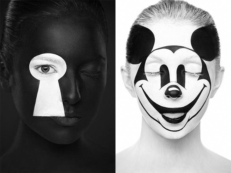 Models Faces Transformed Into 2D Images with Face Paint