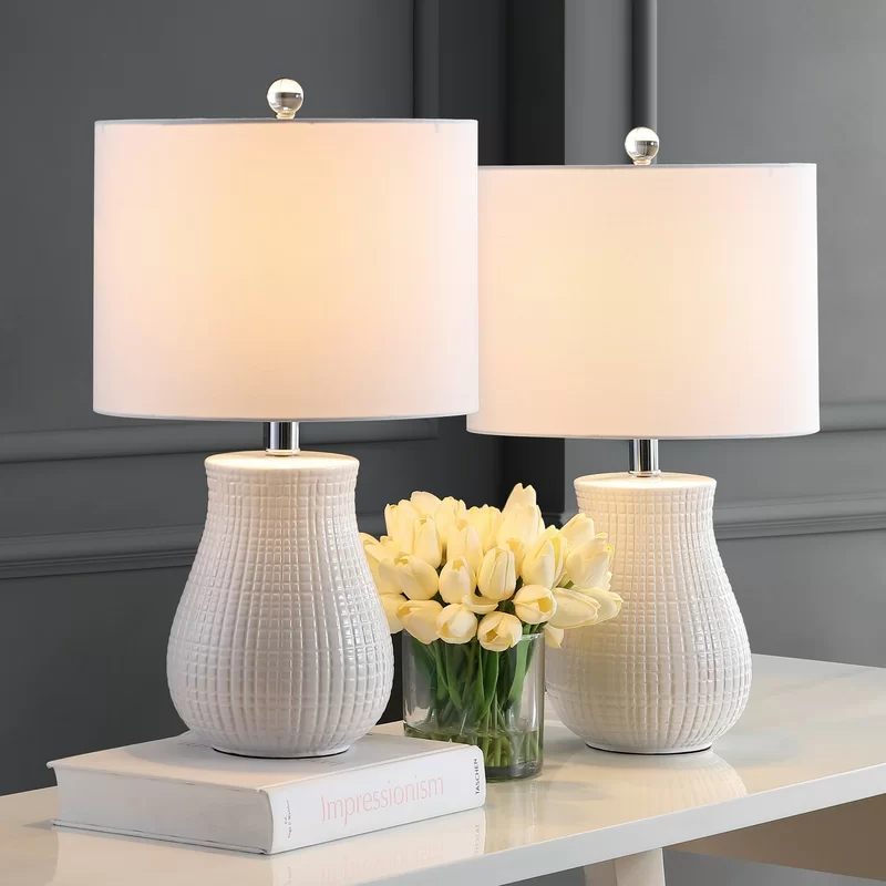 Ahrens White Table Lamp Set In 2021 Table Lamps Living Room Table Lamp Sets White Table Lamp