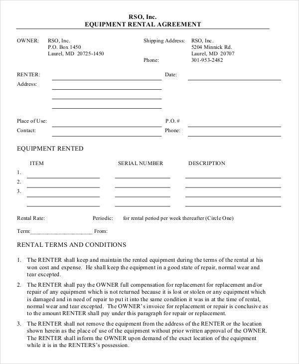 Equipment rental agreement sample free equipment rental agreement