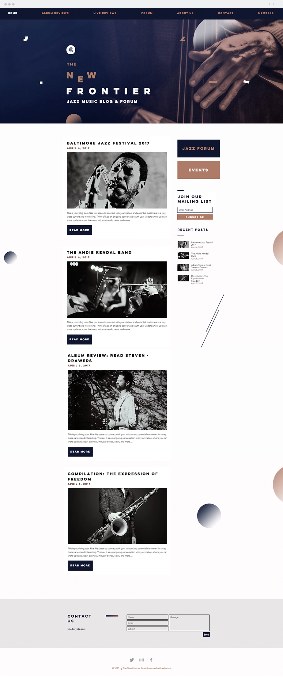 Blog Website Templates Jazz Music Blog Website Template  Wix Website Templates