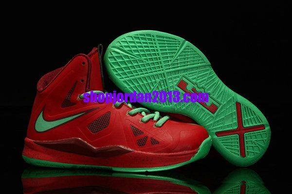 Nike Lebron 10 Kids Shoes Christmas Red/Green Kids Basketball Shoes