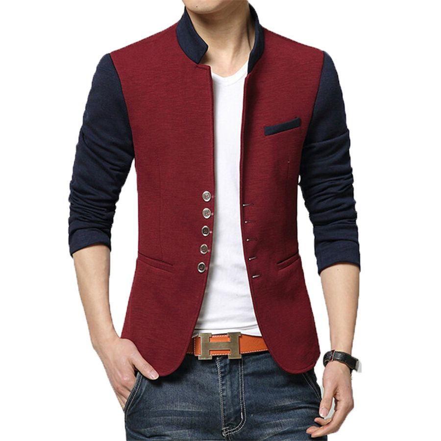 Blazer Men Chinese Collar Suit Mens Summer Blazer Hommes