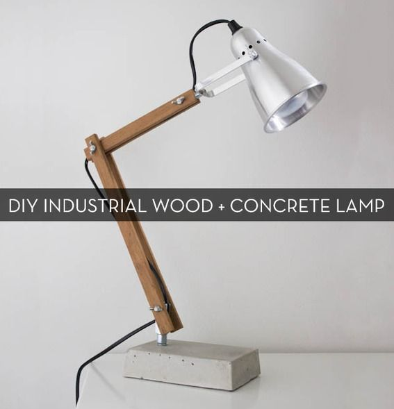 DIY Industrial Modern Wood And Concrete Table Lamp