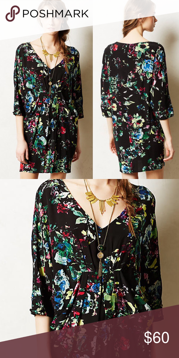 a06b2d9c97830 {Anthropologie} Black Floral Dress Anthropologie Maeve oversized black dress/tunic  with floral pattern and front pockets. Excellent condition except for a ...