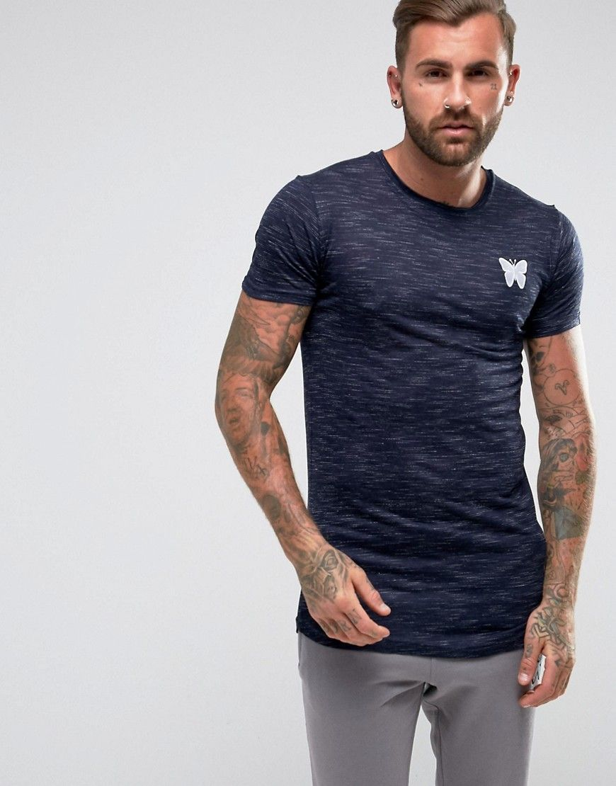 Get this Good For Nothing's fit t-shirt now! Click for more details.  Worldwide shipping. Good For Nothing Muscle T-Shirt In Navy Marl - Navy:  Muscle fit ...