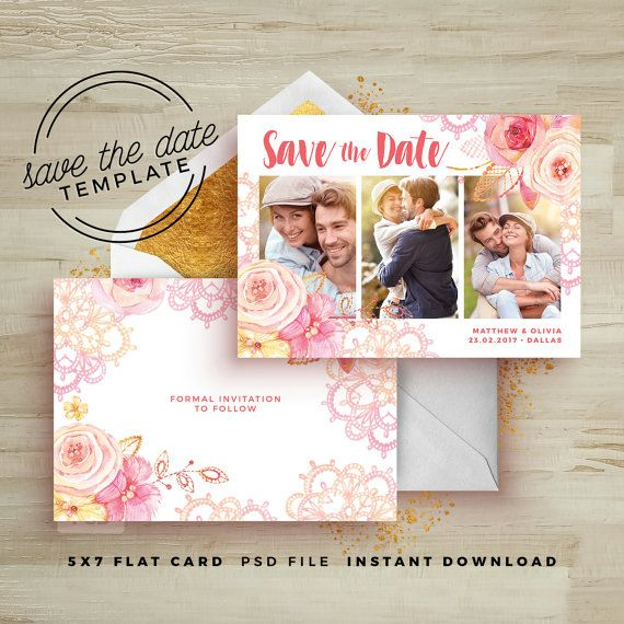 Save The Date Card Floral Template Wedding By Fearlessconfetti