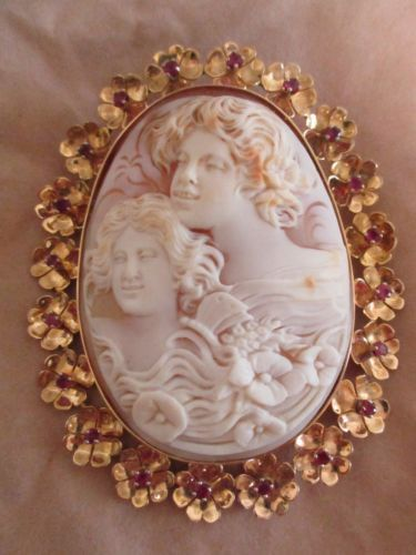 Carved-Shell-Cameo-French-16K-20-Rubies-Museum-Quality-Smile-w-Carved-Teeth