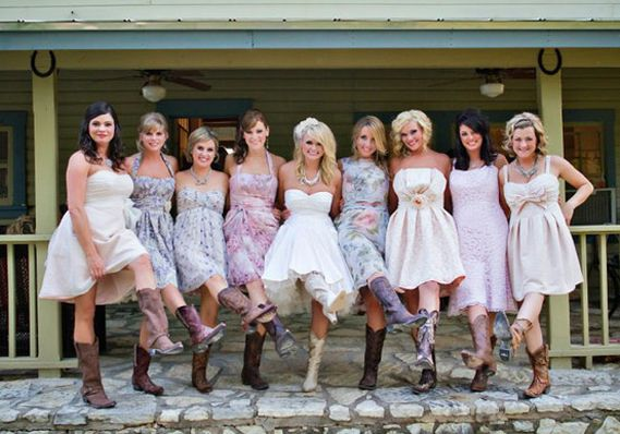 Here Comes The Bride Mismatched Bridesmaid Dresses Miranda Lambert Wedding Country Wedding Dresses