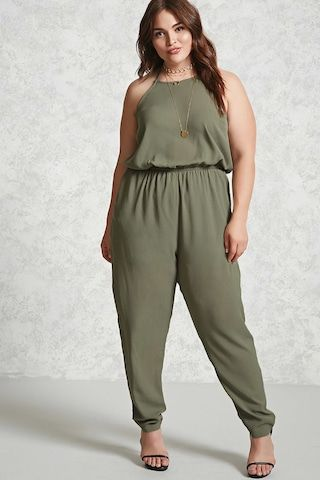 da7861c21ae5 Forever 21+ - A crepe woven jumpsuit featuring an adjustable self-tie  halter neck