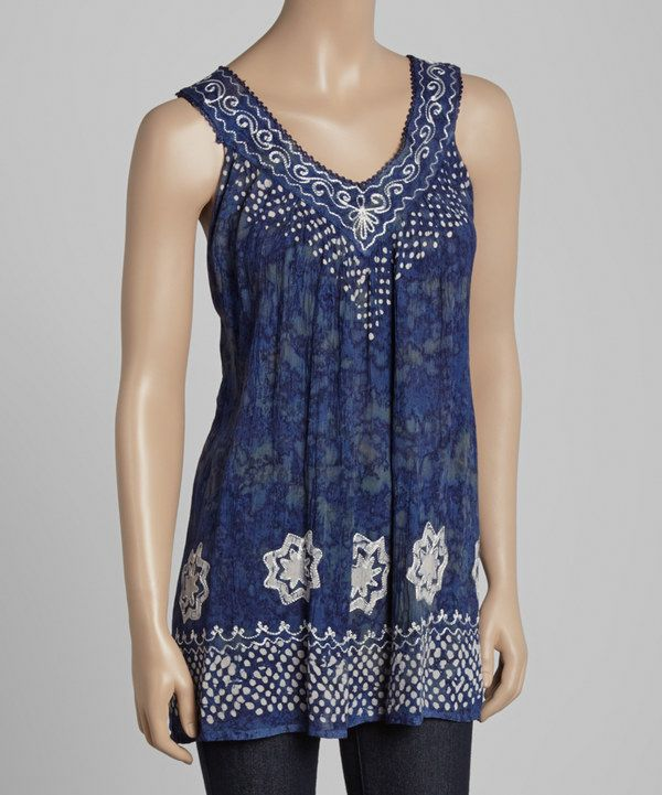 Look at this Advance Apparels Navy & White Embroidered Yoke Tunic on #zulily today!