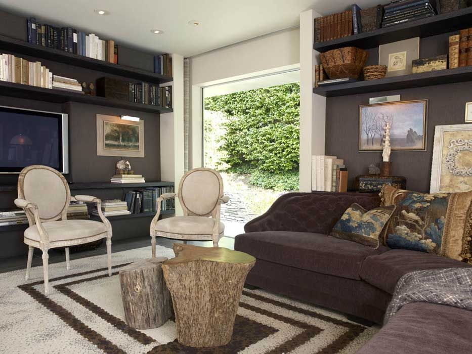 comfortable den with a mix of classic and contemporary elements ...